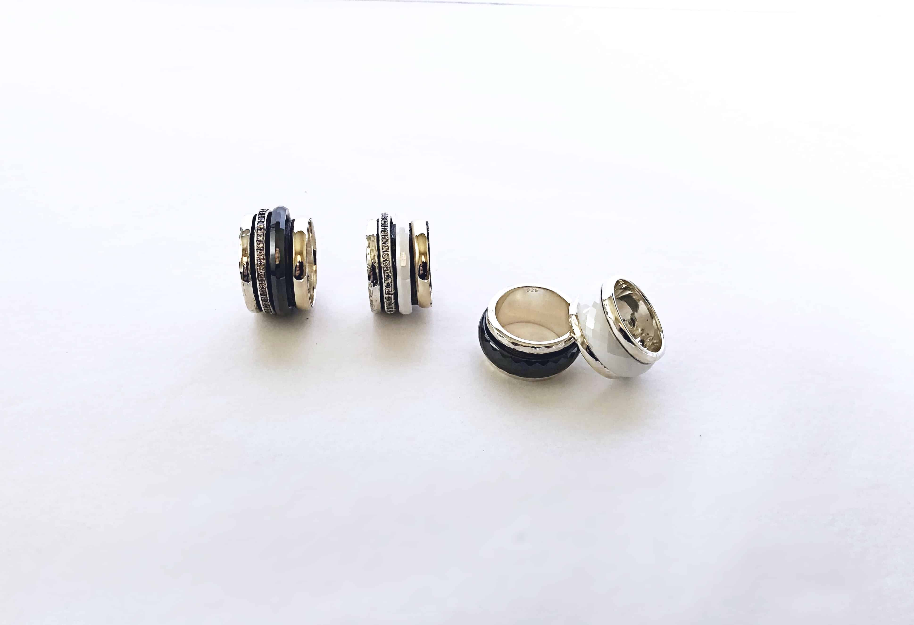 Hayon-rings-silver-gold-cubic-zirconia-ceramic-black-white